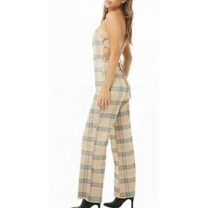 NWT Forever 21 Plaid Laceup Back Wide Leg Jumpsuit